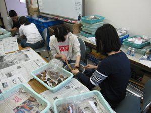 考古資料の取り扱い方の実習を行う